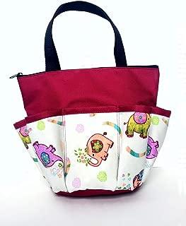 10 Pocket Lucky Elephants Cranberry Red Zipper Bingo Bag