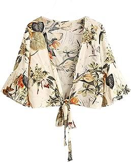 Floerns Women's Summer Printed V Neck Bow Tie Crop Top Blouse