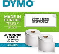 DYMO LW -  Etiquetas auténticas de dirección grandes, 36mm×89mm, impresión negra sobre fondo blanco, 2rollos de 260etiquetas (520etiquetas con reverso fácil de retirar), autoadhesivas, para rotuladoras LabelWriter