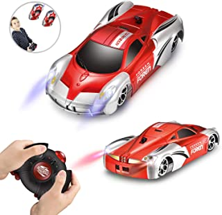 Remote Control RC Car Toys for Kids, Dual Mode 360°Rotating Stunt Rechargeable Wall and Floor Climbing Car with Four LED Lights for Boys Girls Adults (Red)