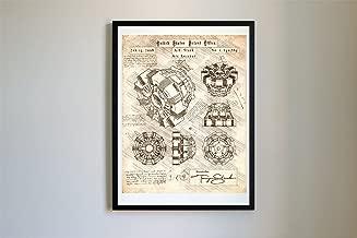 #114 Iron Man Arc Reactor Patent Art - Da Vinci Patent Prints, Poster, Artwork (11x14, Vintage)