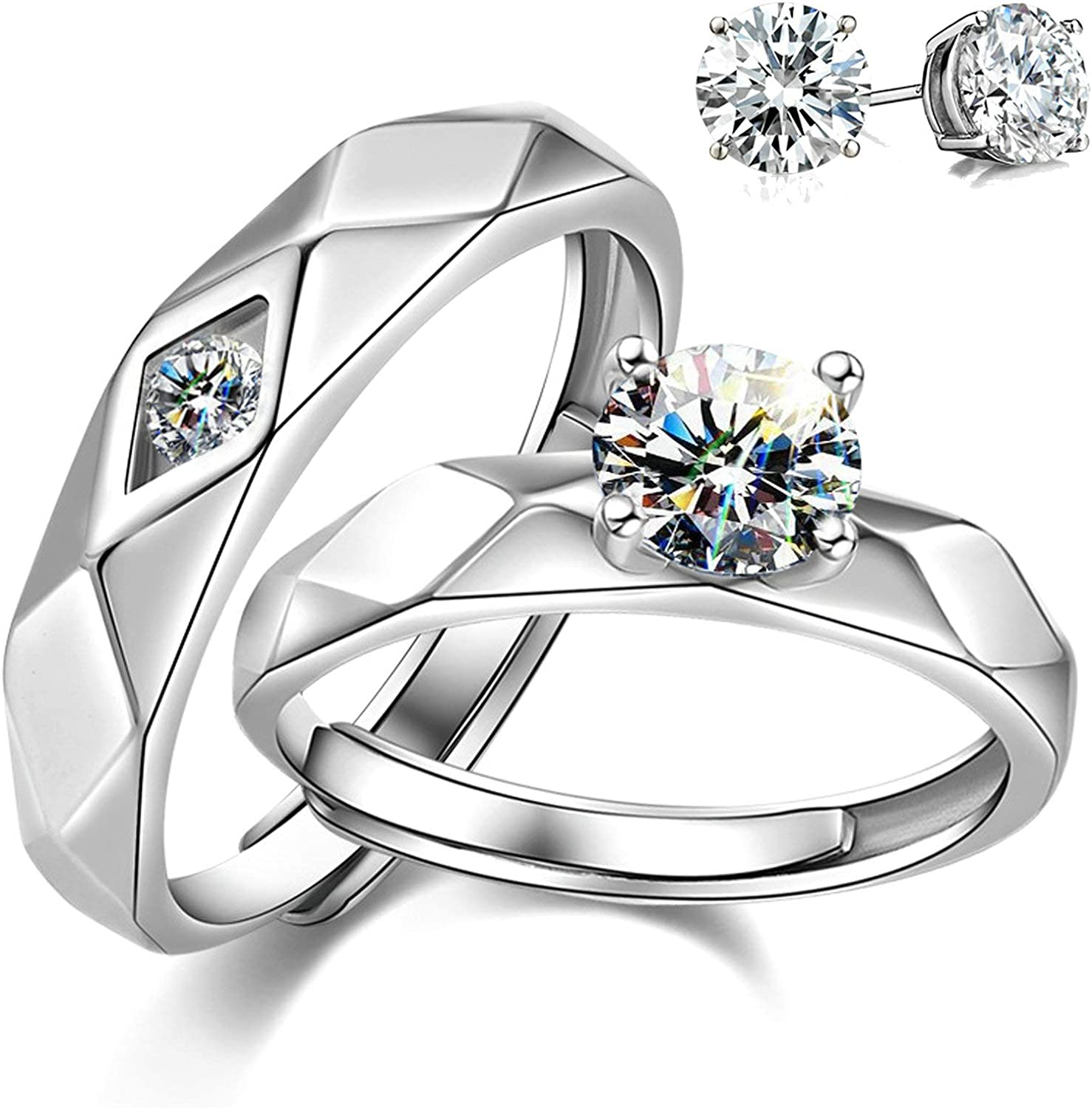 Aeici 925 Sterling Silver Couple Cubic Ri Zirconia Wedding 5% OFF Limited price sale Rings