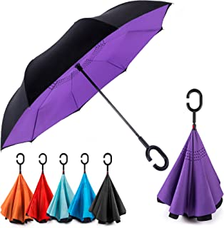 Sponsored Ad - EEZ-Y Reverse Inverted Windproof Umbrella - Upside Down Umbrellas with C-Shaped Handle for Women and Men - ...