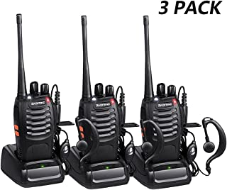 BAOFENG Walkie Talkie Radios BF-888s Long Range with Earpiece Mic Antenna UHF Two Way Radio 5W Handheld 2 Way Radio Reachargeble Ham Transceiver with Headsets Microphone(3 Pack)