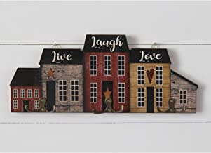 Rustic Wood Live Laugh Love Sign House-Shaped Wall Mounted Coat Rack with Metal Double Hooks – Decorative Robe, Hat, Towel...
