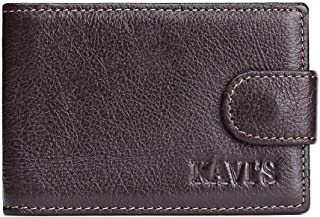 Leather Bag Mens Leather Wallet Fashion Short Button American Money Clip Certificate Bag Korean Men's Bag High Capacity (Color : Brown, Size : S)