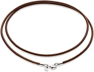 Miabella Genuine Italian 2mm Black or Brown Leather Cord Chain Necklace for Men Women with 925 Sterling Silver Clasp 14, 1...