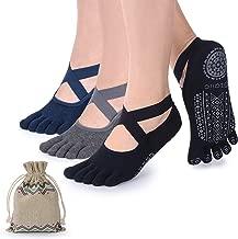 Yoga Socks for Women with Grips, Non-Slip Five Toe Socks for Pilates, Barre, Ballet, Fitness