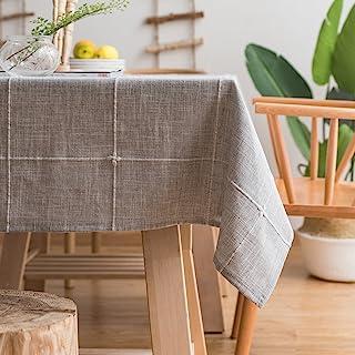 رومیزی گلدوزی جامد گلدستوش ColorBird روتختی پنبه ای ، پارچه و لباس ضد گرد و غبار ، برای تزیین سفره آشپزخانه (مستطیل / فرضی ، 52 86 86 اینچ ، خاکستری)