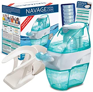 Navage Nasal Care Essentials Bundle: Navage Nose Cleaner, 38 SaltPod Capsules, and Countertop Caddy. 116.90 if Purchased Separately, You Save 16.95.