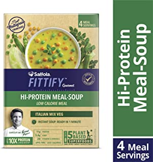 Saffola FITTIFY Gourmet Hi Protein Meal-Soup, Italian Mixed Vegetables, 4 Servings (Soup Powder 180g + multigrain Crunchies 32g)