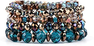 5 Pcs/Set Hot Elastic Crystal Charm Bracelets for Women Trendy Colorful Crystal Hematite Copper Nuggets Bracelet
