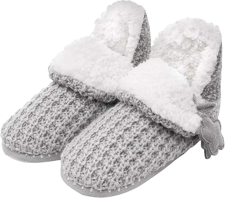 MIXIN Women's Warm Comfort Faux Fleece Fuzzy Indoor Outdoor Slipper Boots shoes