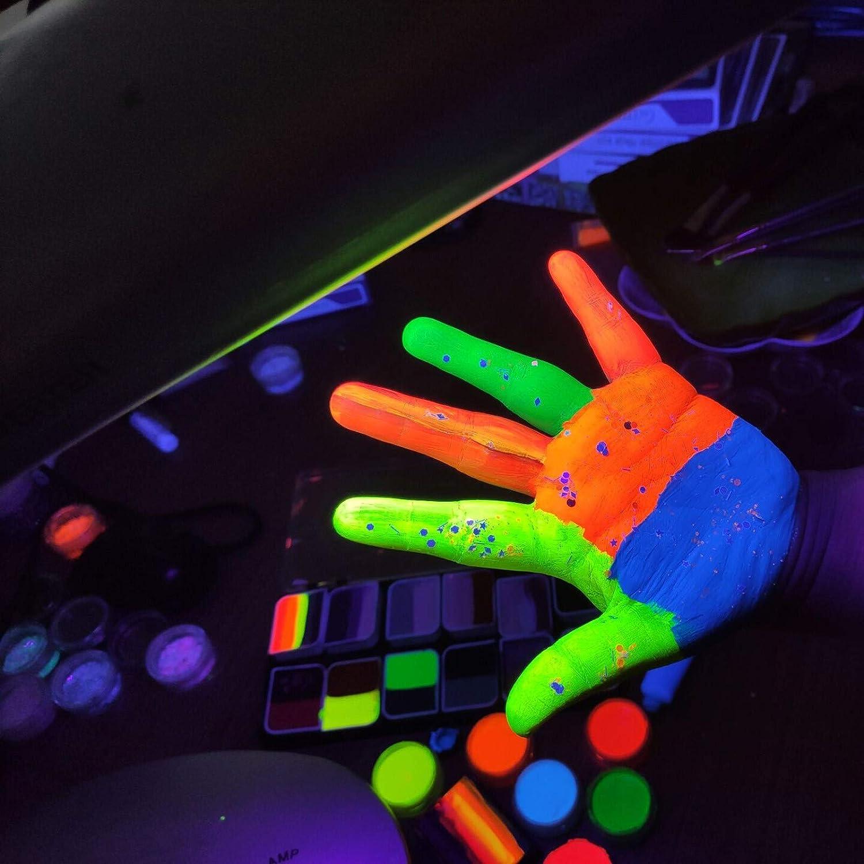 8 Kinds Colored Bright Matte Colors UV Glow Blacklight Luminous Pigments Fluorescent Glitter Mica Dye Colorant Makeup Kit NEWSHRZ/_❤home Neon Pigment Eyeshadow Powder Blue