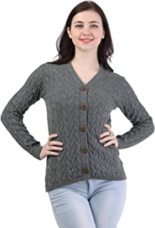 Kalt Women's Full Sleeves Cable Button Acrylic Sweater (Mid Grey Melange)