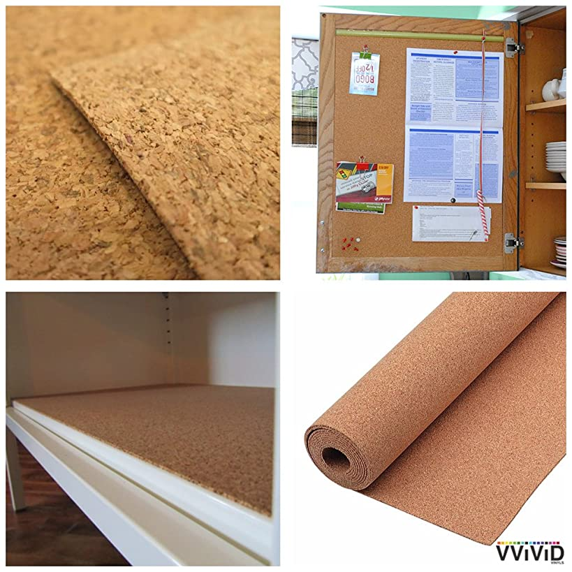Natural Cork Board Textured Vinyl Wrap Underlayer Shelf Sheet Adhesive Roll Drawer Liner (17.8