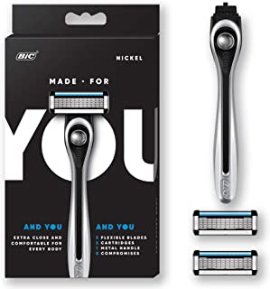 Made For YOU by BIC Shaving Razor Blades for Every Body - Men & Women, with 2 Cartridge Refills - 5-Blade Razors for a Smooth Close Shave & Hair Removal, NICKEL