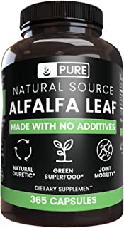 Natural Alfalfa Leaf, 365 Capsules, No Magnesium or Rice Filler, Made in The US, Gluten-Free, 1000mg of Pure and Undiluted...