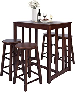 Merax 5-Piece Solid Wood Dining Table Set Kitchen High...