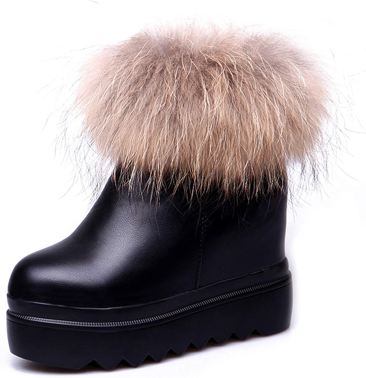 Ankel Boots Platform Woman Fur Wedge Cotton Padded shoes Velvet Boots