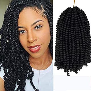 3 Pack Spring Twist Ombre Colors Crochet Braids Synthetic Braiding Hair Extensions Low Temperature Fiber (8 Inch, 1B)