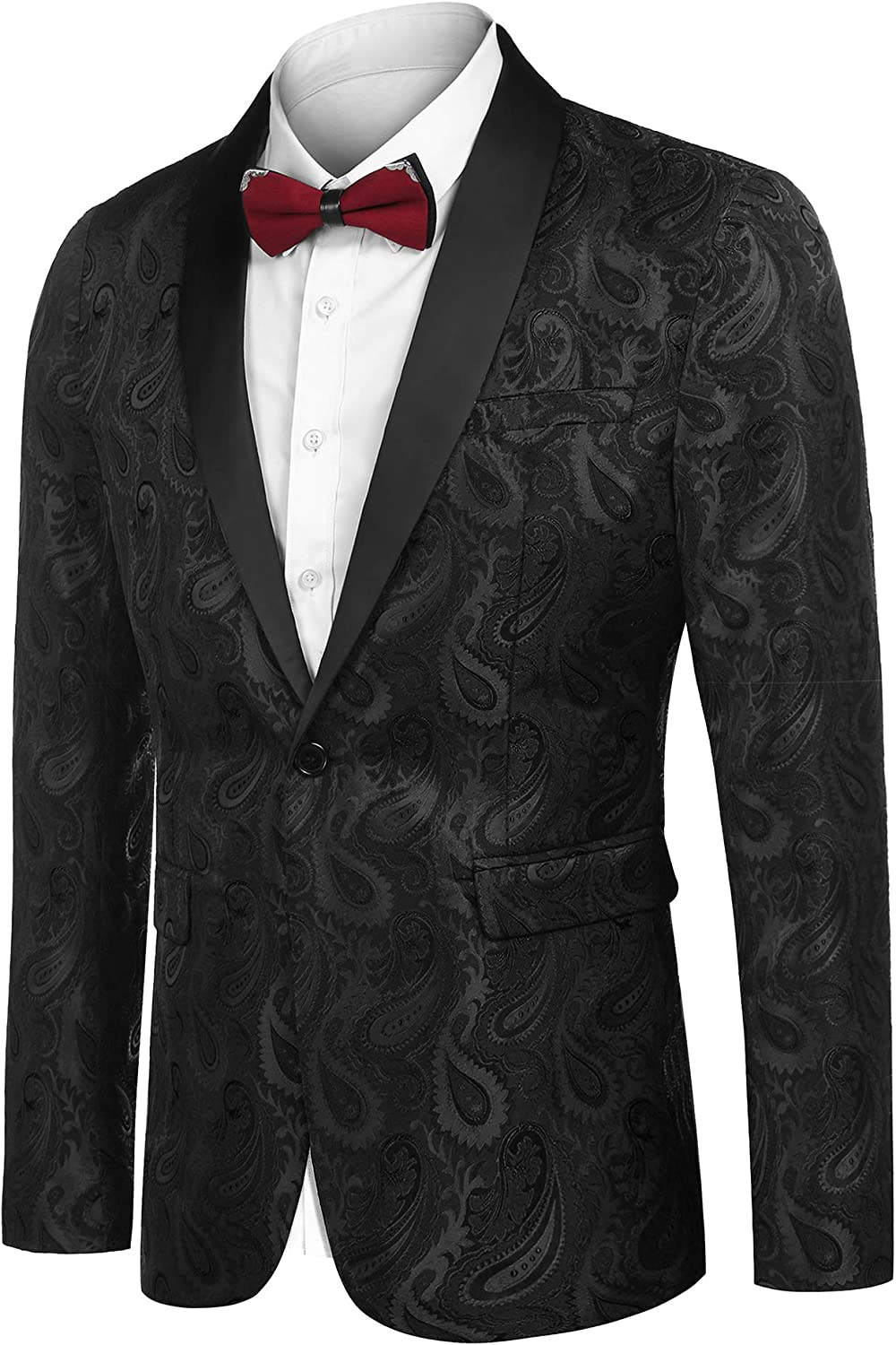 JINIDU Men's Floral Tuxedo Jacket Paisley Embroidered Suit Jacket for Dinner,Party,Wedding,Prom