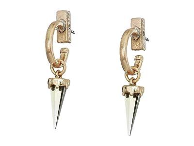 AllSaints Crystal Huggie Drop Earrings (Smoky Quartz) Earring