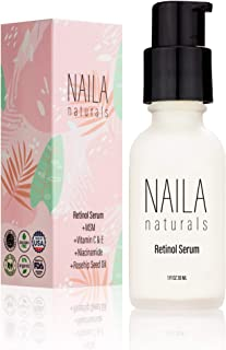 Naila Naturals Retinol Serum - Hydrating Anti Aging Face Serum And Retinol Firming Serum - ORGANIC ingredients - Collagen Retinol Serum - All Natural Skin Care - Gentle Retinol-Made in USA