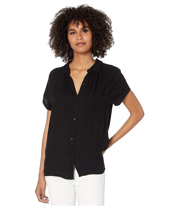 bobi Los Angeles  Raglan Button-Up Shirt in Rayon Crepe (Black) Womens Clothing
