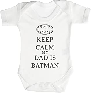 TRS - Calm My Dad is Batman Body bébé - Cadeaux de bébé 3-6 Mois Blanc