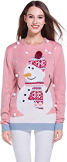 daisysboutique Women's Christmas Cute Snowman Snowflake Knitted Sweater Girl Pullover
