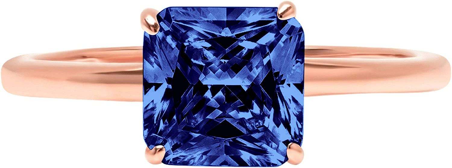 1.50 ct Brilliant Asscher Cut Solitaire Flawless Simulated CZ Blue Tanzanite Ideal VVS1 4-Prong Engagement Wedding Bridal Promise Anniversary Designer Ring Solid 14k Rose Gold for Women