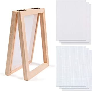 Kalolary Wooden Paper Making Mould Frame 5 x 7 Inch Paper Making Screen Frame Screen Mesh Tool Kits for DIY Paper Craft an...