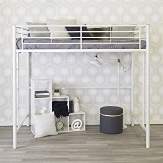 WE Furniture AZDOLWH Modern Metal Pipe Full Double Size Loft Kids Bunk Bed Bedroom, White
