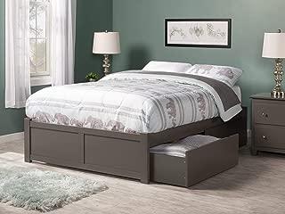 Atlantic Furniture Concord Platform 2 Urban Bed Drawers, Full, Grey