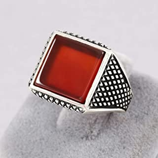 Mens Rings in 925 Sterling Silver, Square Red Agate (Akik/Aqeeq) Stone, Turkish Handmade Men's Solitaire Ring Size 9