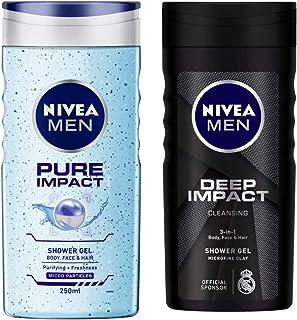 NIVEA Men Shower Gel, Pure Impact Body Wash, 250ml And NIVEA Men Shower Gel, Deep Impact Cleansing Body Wash, Men, 250ml