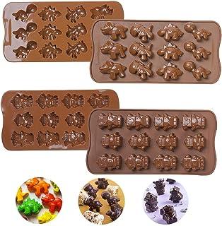 Iindes 2PCS Moldes de Silicona y Caramelo de Chocolate, Molde de chocolate Dinosaurios y robots Bar Ice Cube Molde para Bandeja de Dulces (Chocolate)