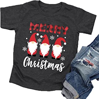 Christmas Shirt Toddler Boys Girls Cute Gnomes T-Shirt Funny Santa Graphic Tee Tops Kids Holiday Shirt Xmas Gift