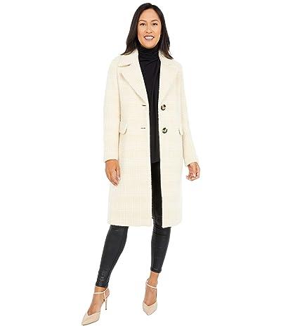 Calvin Klein Single Breasted Wool Coat with Side Pockets (Beige/White) Women