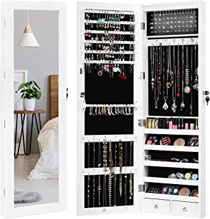 Giantex 15 LEDs Mirror Jewelry Armoire, Lockable Wall Door Mounted Jewelry Cabinet with Full-Length Mirror, Large Storage Capacity Jewelry Organizer Cabinet Armoire for Girls Women, White