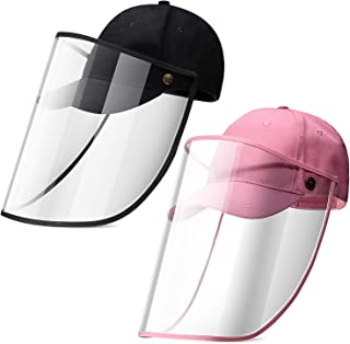 SATINIOR 2 Pieces Full Face Baseball Cap for Kids Unisex Protective Cap Detachable Protection Hat with Removable Face Cove...