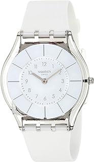 Swatch White Classiness Femme Caoutchouc Bracelet Minéral Verre Montre SFK360