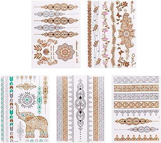 Beaupretty Metallic Tijdelijke Tattoos Goud Zilver Tijdelijke Tattoos Waterdicht Sieraden Tattoos Met Bloemen Mandalas Oli...