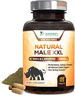 Natural Male XXL Capsules Natural Stamina, Strength & Endurance - Extra Strength Energy Support - Made in USA - Prime Perf...