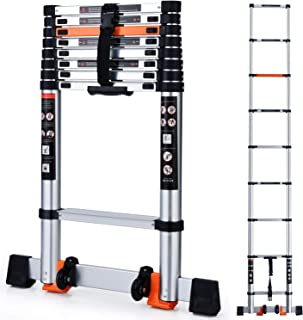 Telescoping Ladder Extension Multi-Purpose 10.5 FT Aluminum Foldable Industrial Compact Loft Ladder Household Daily or Emergency Use Portable Extendable Step Ladders 330 lb Large Loading Capacity