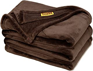 DOZZZ Oversize Flannel Throw Blanket with Cozy Plush Soft Cover for Sofa Chair and Bed Furniture Gift Brown