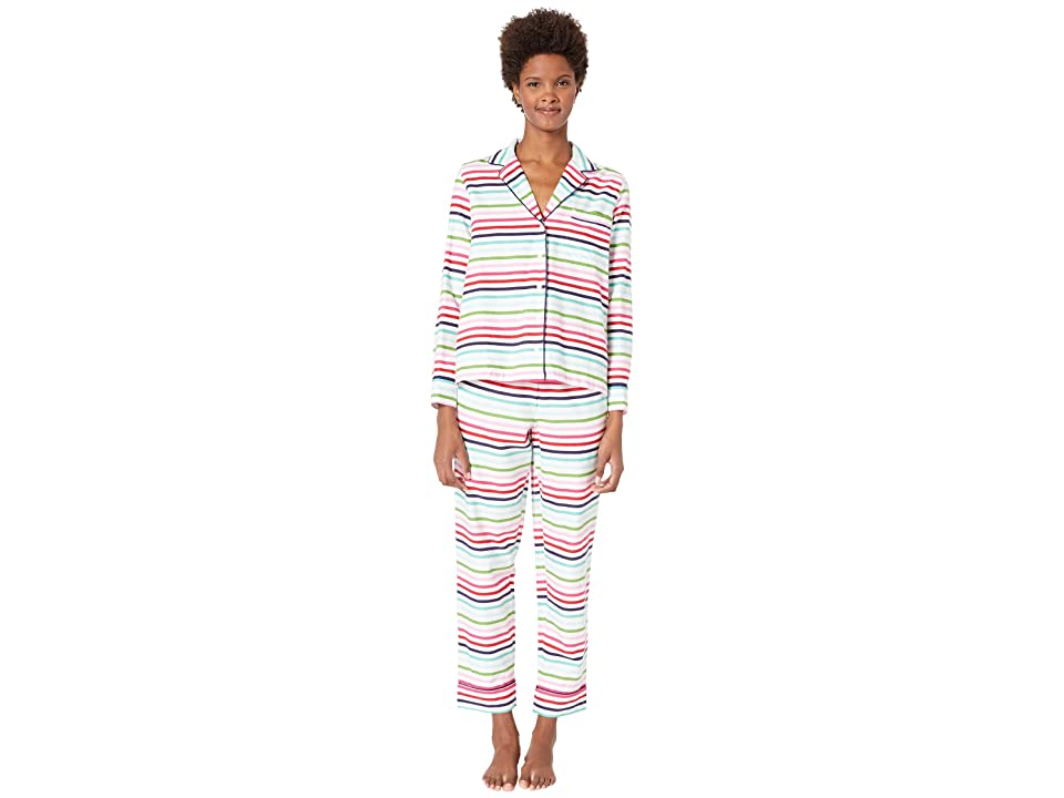 Kate Spade New York Brushed Twill Long Pajama Set (Holiday Stripe) Women