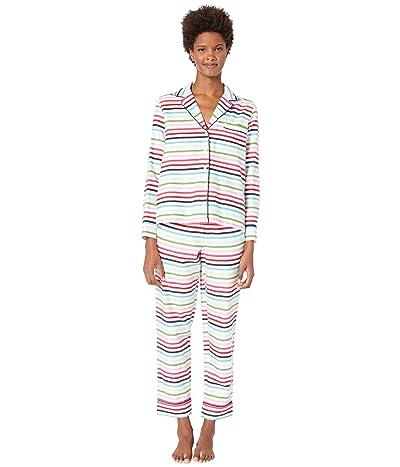 Kate Spade New York Brushed Twill Long Pajama Set (Holiday Stripe) Women