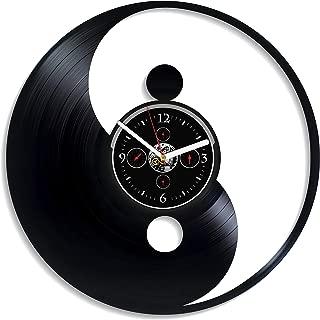 Kovides Yin Yang Wall Clock Vintage Vinyl Record Retro Wall Clock Large Yin Yang Wall Clock 12 Inch Birthday Gift Yin Yang Gift for Husband New Year Gift Yin Yang Wall Decor Home Wall Decor